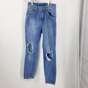 Carmar high rise denim ankle jeans busted knee 25